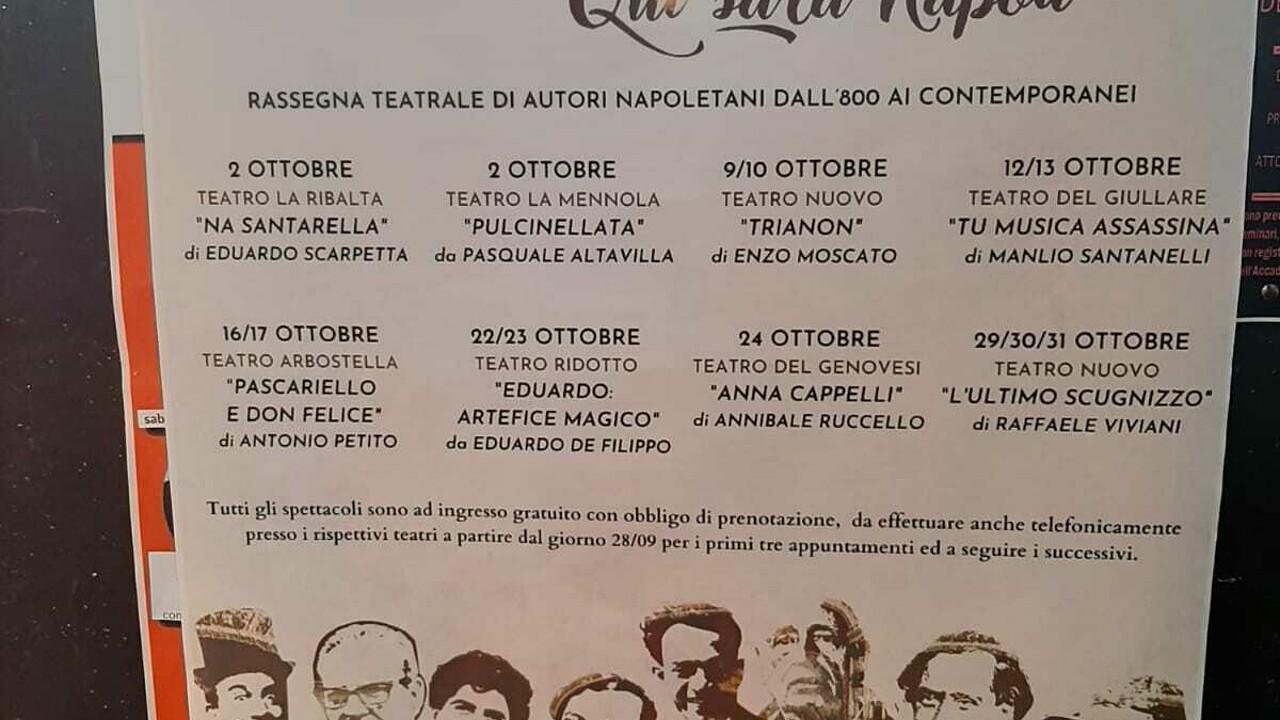 Rassegna teatrale: qui fu Napoli, ecco il programma 2-31 ottobre 2021